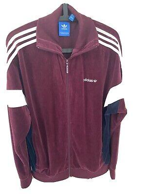 adidas Originals Velour Track Jacket Burgundy Size M Three Stripe White