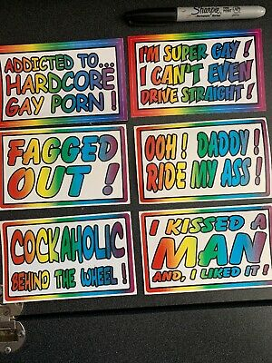 - 6 Piece Gay Prank Bumper Stickers 3x5 Inches Kit #3