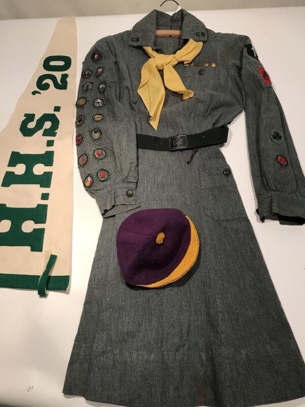 Girl Scout Uniform 1920s Troop #1 Georgia Juliette Low Belt Scarf 20+ Badges Cap