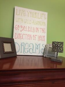 Inspirational Quote on Canvas, 2 Picture Frame and 1 Decor Piece