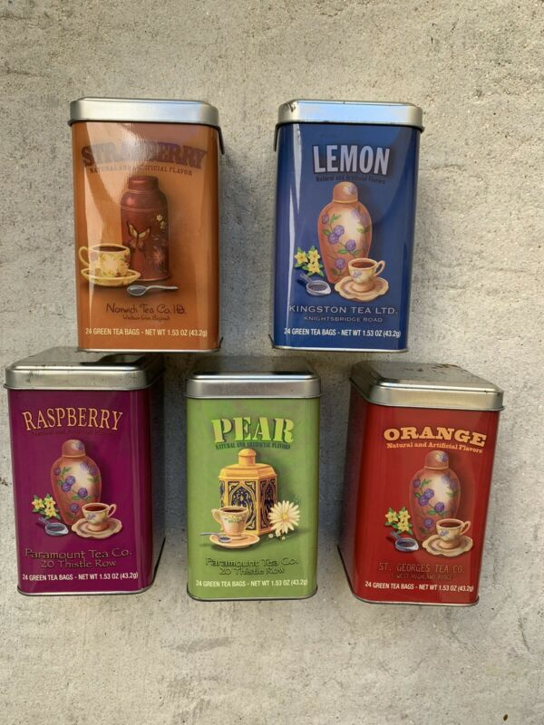Lot of 5 Empty Fruit Tea Tins Storage Cases Boxes Arts Crafts