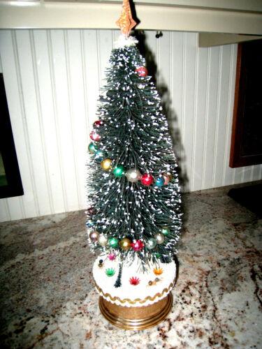 Vintage Bottle Brush Christmas Tree - Music Box Mercury Bead Garland Reindeer