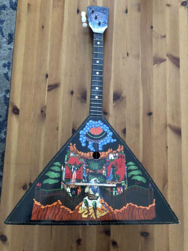 "Original Russian Wood Instrument Balalaika 3 String Hand Painted Signed 26"""