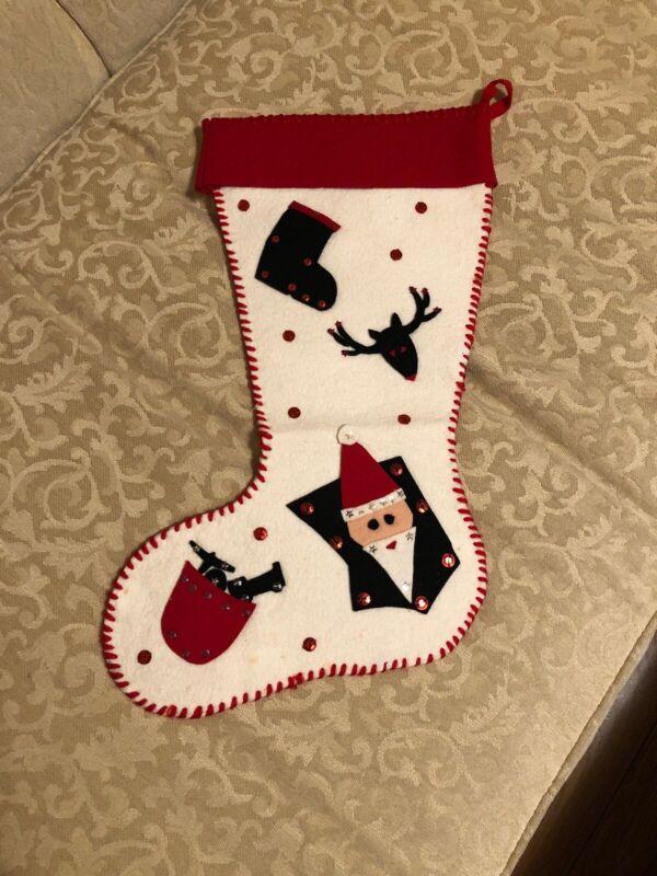 "Vintage Felt Holiday Christmas Stocking - Reindeer, Santa Design 16 1/2"""