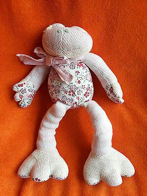 """Lisbeth Dahl Frog Soft Toy Knitted Soft Toy Baby Comforter Floral  13"""" Retired"""
