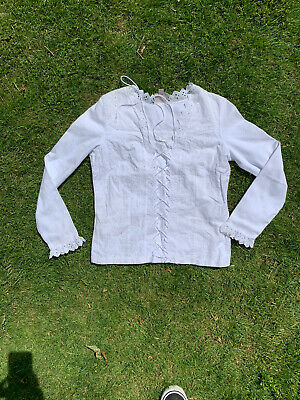Vintage Laura Ashley White Embroidered Cotton Top Size Medium