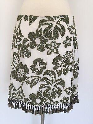 J Crew Floral Silk Sequins Beaded Fringe Skirt Ivory Green Size 6 Rare! Beaded Fringe Skirt