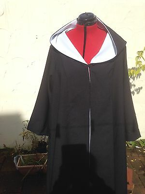 oversized black hooded cloak with sleeves. with White Lining harry wizard school (Black Hooded Cloak With Sleeves)