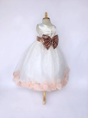 Petal Dress Flower Girl (Rose Gold Petal Dress Ivory Tulle Summer Spring Easter Toddler Flower Girl)