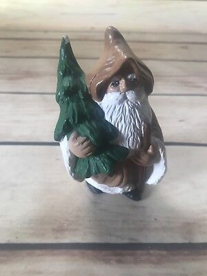 Christmas Decoration Ceramic Santa Holding a Tree Old Fashion Style Brown Green