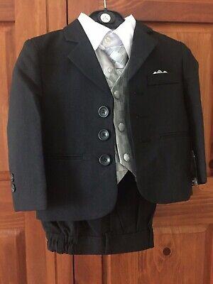Calla Collection Boys 5 Piece Black Holiday, Party, Ring Bearer Suit Sz 2 24 W Collection Boys 5 Piece Suit