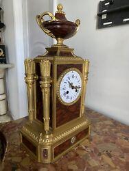 FRENCH Antique Gilded Bronze Marble Elegant Mantle Clock Raingo  C . 1880