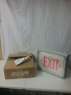 New Lifeforms Dual-lite Type 4x White Wred Letter Led Exit Sign Ln4xrw