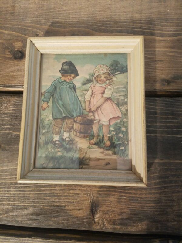 Vintage Jack And Jill Nursery Rhyme Framed Lithograph Print 1940s ?? 4 x 5 in