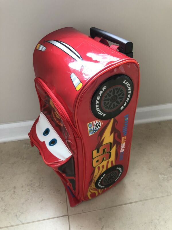 DisneyLightning McQueen Cars Rolling Luggage Suitcase With Handle Red Used ⭐️