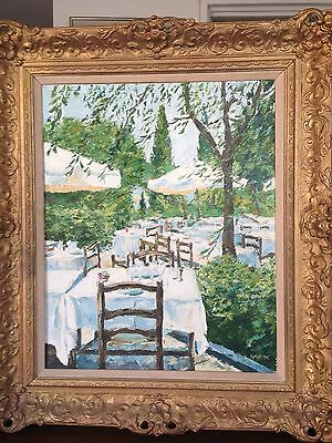 """William Foreman """"Terrace, Colombe D'ore"""" Signed Oil on Canvas Painting"""