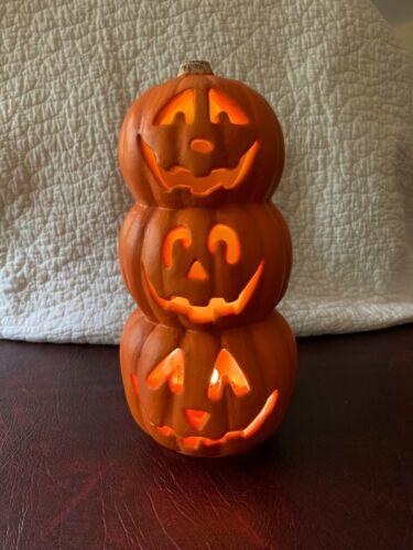 Pumpkin Jack-o-lantern Stack of 3 Lighted Mold Vintage 1998 Paper Magic Group