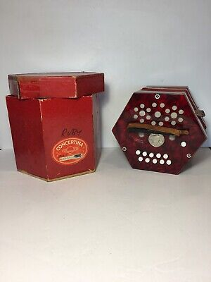 RARE 1940s Scholer Concertina  Red Floral Vtg Germany USSR Occupied  Accordion