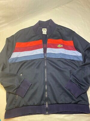 RARE! Lacoste Sport Blue striped Track ZIP UP Jacket Size 7 L/XL men's EUC