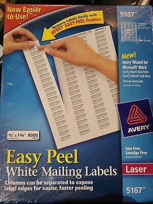 Avery Easy Peel Return Address Labels Laser 12 X 1 34 White 8000box 5167