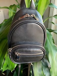 Backpack shape cross body black with chain straps full leather