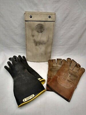 Salisbury Lineman Gloves Size 9 Class 1 Type 1 W Leather Gloves Canvas Case