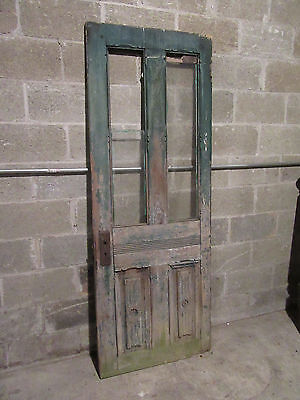 ~ ORNATE ANTIQUE DOOR WITH GLASS TOP 28 X 76 ~ ARCHITECTURAL SALVAGE ~