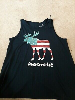 Abercrombie kids girls 15/16. Tank Top. Red/white/blue.  Moose on front sleevles