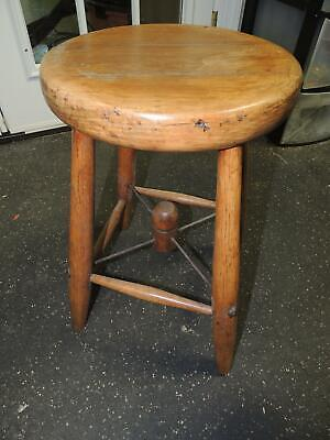 Antique Wooden Milking Stool w/ Metal Cross Stringer marked NY 5205