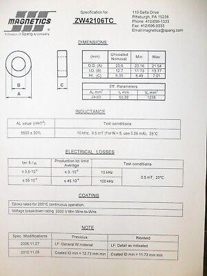 Zw42106tc Toroid Coated Ferrite Core Elna Mangetics Lot Of 5