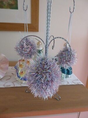 Hand knitted Christmas Tinsel Bauble Silver with Blue and Pink (Blue And Silver Tinsel)