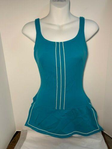 Vintage Rose Marie Reid Bathing suit one piece skirted SZ 10 Blue  Bombshell