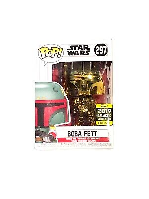 Funko #297 BOBA FETT Gold Chrome Star Wars GALACTIC CONVENTION 2019 Exclusive