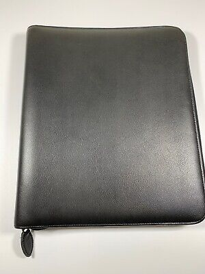 Daytimer Leather Notebook Size Planner Cover Black Zippered
