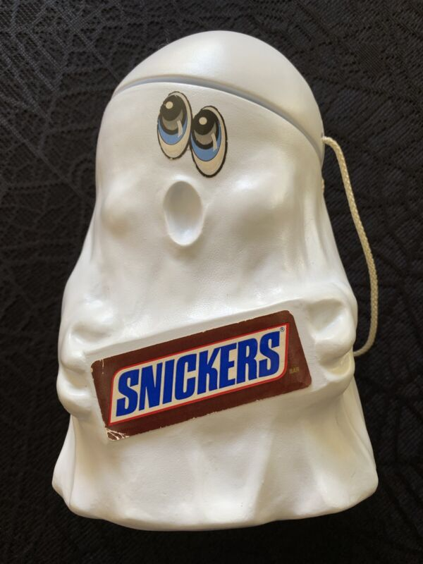 VINTAGE 1989 MARS SNICKERS GHOST HALLOWEEN CANDY PAIL BUCKET PLASTIC BLOW MOLD