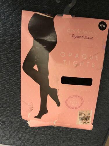 New, pkg shows wear BeMaternity Ebony Black Opaque maternity  Tights sz  S/M