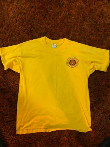 HOAC H. Roe Bartle Scout Reservation Vintage Staff Shirt Mic-O-Say Yellow 80s