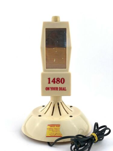 Vintage Promotional Mike Radio Ribbon Microphone Tube Radio 1480 AM On Your Dial