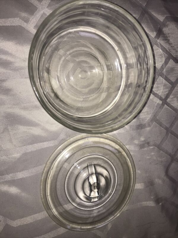 ✔️ Vintage Round Refrigerator Dish w/ Lid Clear Ribbed Glass Bowl Container