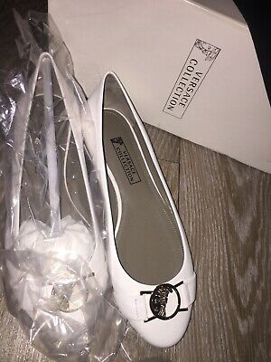 VERSACE COLLECTION Ladies Leather Ballerina Flat Shoes Size UK4/5 EU37 NEW