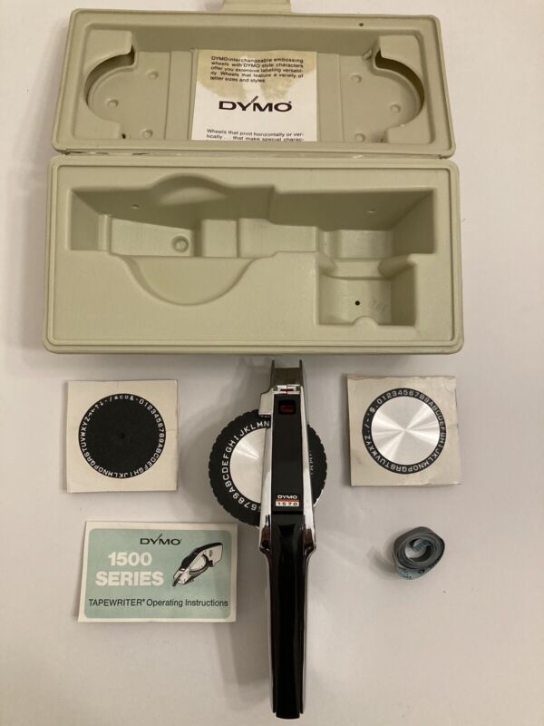 Vintage Dymo Deluxe Tapewriter Kit 1570 with Case 1500 Series