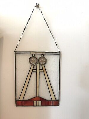 Antique Handmade Art Deco Stained Glass Panel