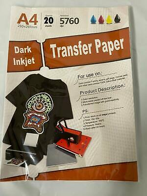 New Inkjet Iron-on Heat Transfer Paper For Dark Fabric 20 Sheets 8.5x 11 A4