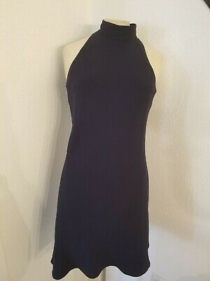 RALPH LAUREN Halter Sleeveless Dress Sz 6 Navy Blue Lined High Neck Womens