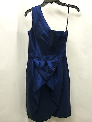 Max   Cleo Bule Marine One Shoulder Taffeta Bubble Dress Size 6 Nwot