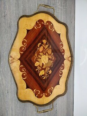 Vintage Large Wooden Serving Tray Inlaid Marquetry With Brass Sides & Handles