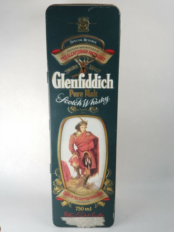 Tin Box Glenfiddich Scotch Whiskey Empty Container w/ Kennedy Clan Brief History