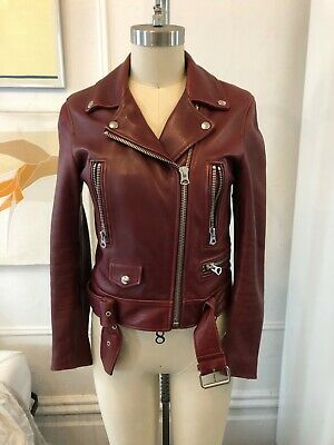 ACNE LEATHER MOCK JACKET OX BLOOD 36
