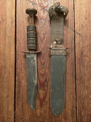 "USMC Navy Ka Bar Mark 2 WW2 Knife & Matching Nord Scabbard ""Robeson Cutlery"""