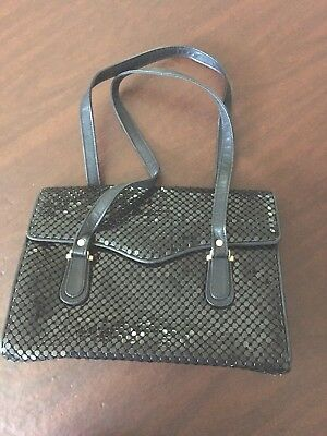 Vintage La Regale Metal Mesh Handbag Black Leather Straps & Trim Envelope Flap